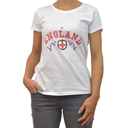 GB Sports FIFA World Cup 2014 T-shirt aux couleurs de l'Angleterre pour femme S, M, L, XL ou XXL Blanc - Blanc