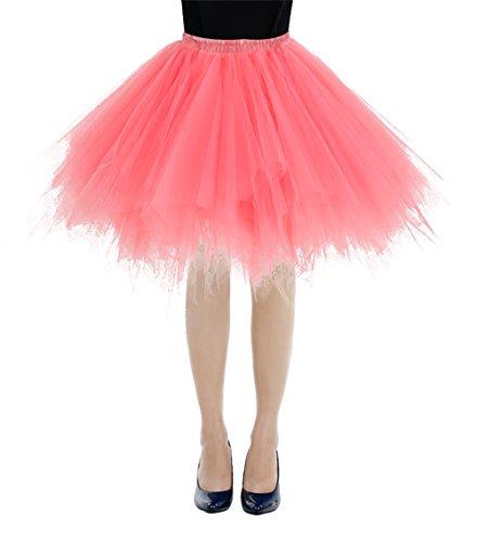 bbonlinedress Kurz Retro Petticoat Rock Ballett Blase 50er Tutu Unterrock Coral S