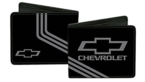 Chevrolet Automobile Company Black And Grey Logo Stripes Bi-Fold Wallet