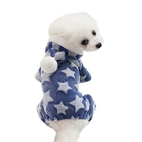 (Hunde Sweater Winter Warme Puppy Kleidung Welpen Hund Katze Mantel Kleid Bekleidung Haustier Pyjamas(Blau,S))