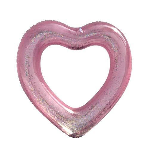 Piscina inflable vacía del corazón del amor Anillo de natación del brillo del oro rosado Herramienta...