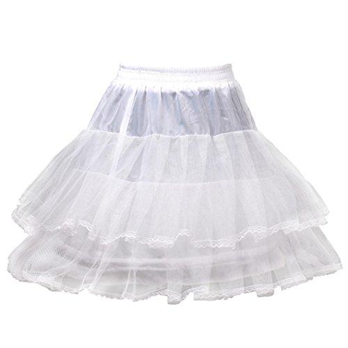 HIMRY Sottogonna Con pizzo, 1 cerchio, 3 strati, lunghezza al ginocchio, Crinolina sottoveste, per Vestito Abito da Sposa, Taglia unica, Adatto per Taglia XS, S, M, L, XL, bianco, KXB-0012 White