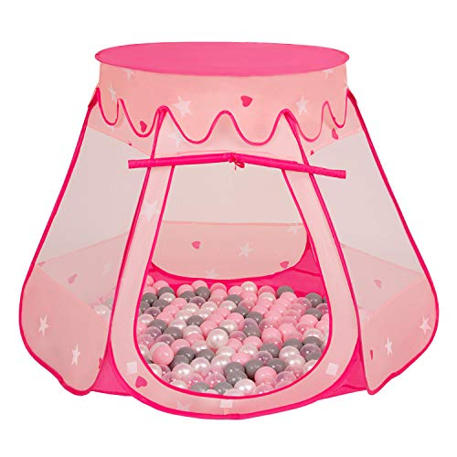 Selonis Baby Spielzelt Mit Plastikbällen Zelt Plastikkugel Kinder, Pink:Perle-Grau-Transparent-Puderrosa,105X90cm/600 Bälle