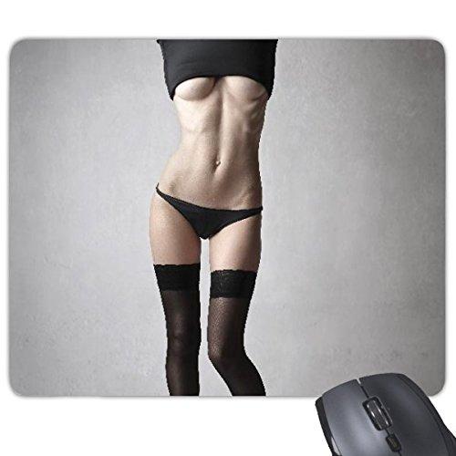 Schwarz Strumpfhose Nude Babe Hot Sexy Girl ziemlich Gal Lady Bild Rechteck rutschfeste Gummi Mauspad Spiel Maus Pad Geschenk