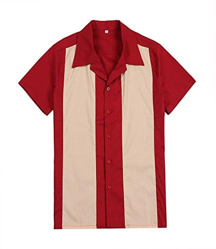 Camisa para hombre de color rojo y crema estilo vintage de rockabilly americano, para fiestas, campamentos, estilo hip hop de vaquero del oeste, Hombre, color multicolor, tamaño Medium