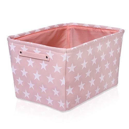 Rosa Segeltuch Aufbewahrungskorb - Hochwertiger rechteckiger Stoffkorb mit weißen Sternen - Perfekt für die Aufbewahrung von Haushaltsutensilien, Stoffen oder Spielzeug. Größe: 40 cm x 30cm x 25 cm. -