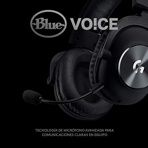 Logitech G Pro X -  Auriculares con micrófono para Gaming (Segunda generación),  con Blue Vo!CE,  DTS Headphone:X 7.1 y transductores de Audio Pro- G de 50 mm (para PC,  PS4,  Switch,  Xbox One,  VR),  Negro