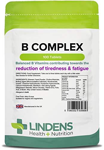 Lindens Compresse di vitamine del gruppo B | 100 Confezione | Formula bilanciata contenente 8 vitamine del gruppo B, rinforzata con vitamina C, colina, inositolo e PABA che contribuiscono al corretto funzionamento del metabolismo e alla riduzione del senso di stanchezza e affaticamento