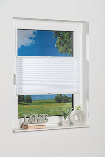 K-home Klemmfix-Plissee Palma Weiß 70 x 210 cm (B x L) Lichtschutz +++ Moderne Crushed Optik +++