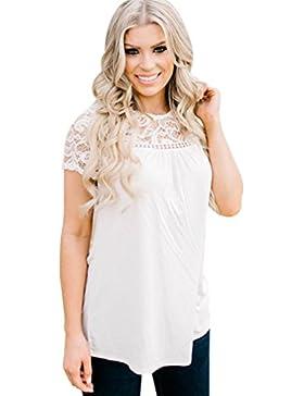Mujer Blusa,Sonnena ❤️ ❤️ impresión hueca de encaje decoración Tops manga corta blusa para mujer y chica joven...