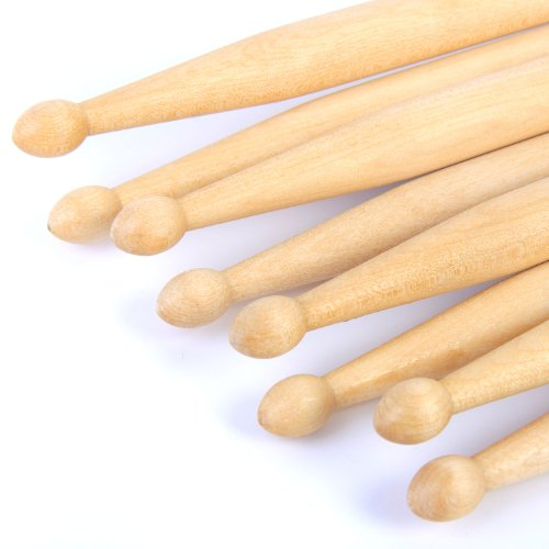 5A Drum Sticks: 4 pairs of PP Maple Drumsticks Wood/Wooden Tip