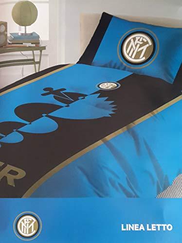 Completo lenzuola letto singolo 1 una piazza ufficiale fc inter nero azzurro 100% cotone sopra + sotto + 1 federa