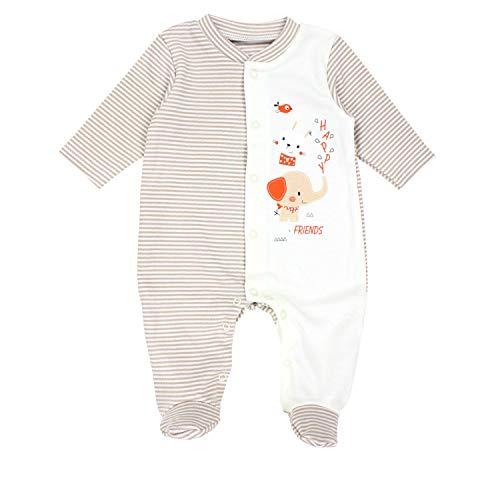 Happy Baby-strampelanzug (TupTam Baby Unisex Schlafstrampler mit Fuß Gemustert, Farbe: Streifenmuster Beige/Happy Elefant, Größe: 74)