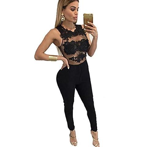 Combinaisons, Europe et États-Unis Fil de dentelle Stitching Nightclub Transparent Bandage pantalons Sexy Rompers ( Couleur : Noir , taille : M )