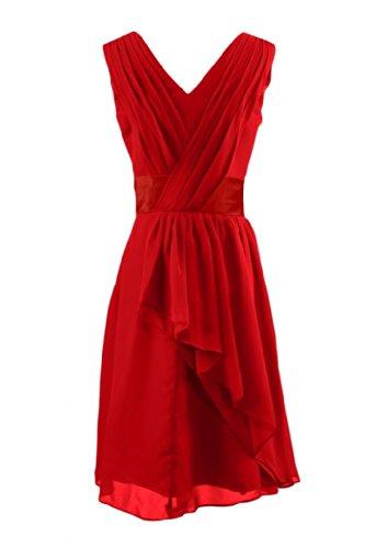 Sunvary abiti da damigella d'onore, linea Chiffon Homecoming vestiti Red