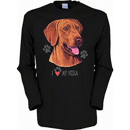 Langarm-Shirt mit Hunde Motiv geil bedruckt / Magyar Viszla ! Schwarz