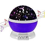 Gerhannery Sterne Nachtlicht Musik LED Star Projektor für Kinder 360 Grad Drehen Baby Zimmer dekoration Aufladbar Sternenhimmel Nachtlichter mit Musik (Lila-Music) (Elegantes Lila)
