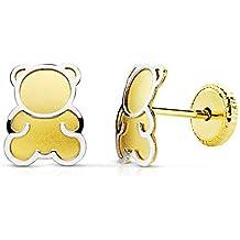 Pendientes bebe niña oso osito oro bicolor 18k 6 mm rosca