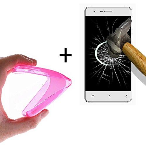 WoowCase   Flexible Gel Schutzhülle für [ Oukitel K6000 ] [ +1 Schutzglas ] Hartglas, Oukitel K6000 Hülle Case TPU Silikon in Rosa
