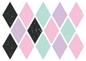 Decopatch-AD019O-Maildor-M. Design-Juego de Adhesivos para Pared-Juego de 2 tablas-49 x 69 cm, diseño de Rombos