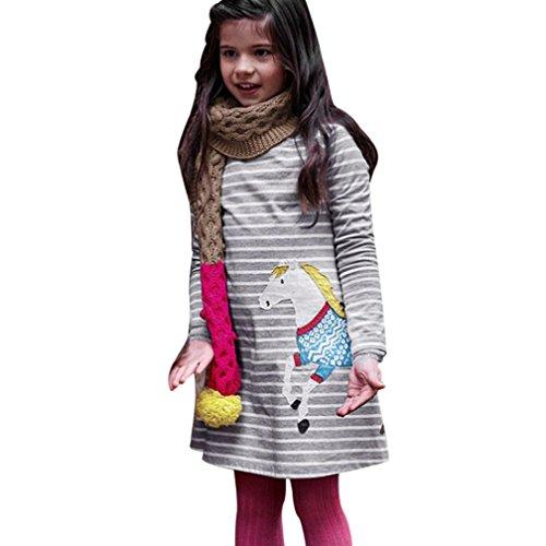 Overdose Kleinkind Baby Mädchen Kind Herbst Kleidung Pferd Print Stickerei Prinzessin Langarm T-shirts Party Kleid Mini Kleid (2T, D-Gray) (Kleinkind Für Pinguin-halloween-kostüm)