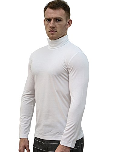 Allegra K Herren Rollkragen Slim Fit T-Shirt Weiß
