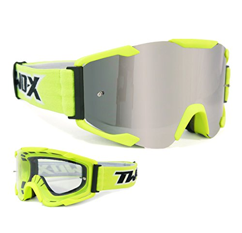 TWO-X Bomb Crossbrille Neon gelb Glas verspiegelt silber - MX Brille Motocross Enduro Spiegelglas Motorradbrille Anti Scratch MX Schutzbrille