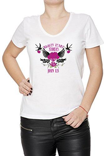 Broken Heart Stories Donna V-Collo T-shirt Bianco Cotone Maniche Corte White Women's V-neck T-shirt