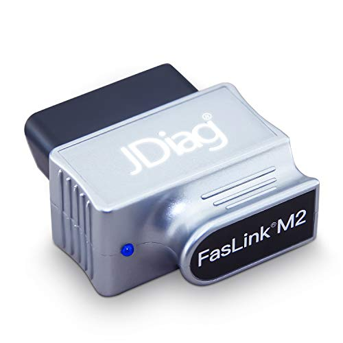 Jdiag faslink M2 Pro OBD2 Bluetooth 4.0 Code Reader Enhanced Auto-Diagnose Scanner Auto OBDII Scan-Tool für iOS & Android Ladekabel, Silber