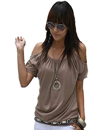Mississhop Japan Style Damen Top T - Shirt Bluse Longshirt Tunika Tanktop Oberteil NATA kakao M