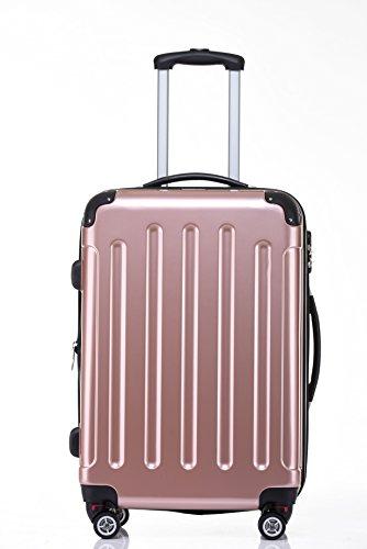 BEIBYE Hartschalen Koffer Trolley Rollkoffer Reisekoffer 4 Zwillingsrollen Polycabonat (Rosa Gold, Kofferset) - 3