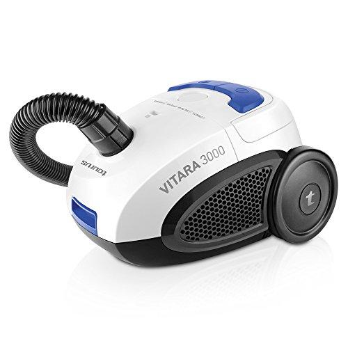 Taurus NEW-948.129 Vitara 3000 New-Aspiradora con bolsa (diseño compacto, sistema Energy Eco, filtro lavable, capacidad 2 l), blanco, azul y negro, 700 W, 2 litros, 80 Decibelios, Acero Inoxidable