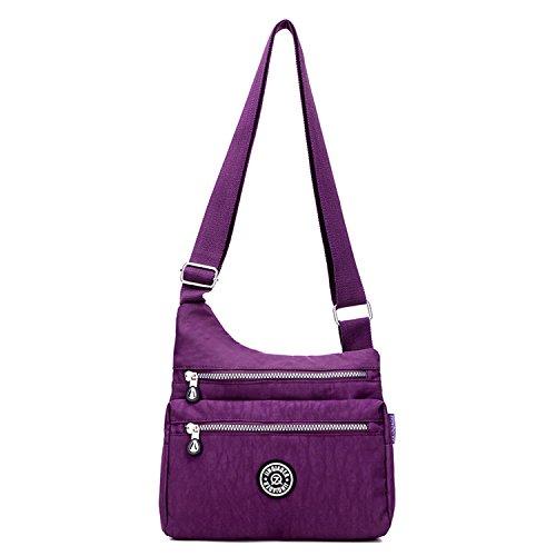 Outreo Kuriertasche Damen Taschen Umhängetasche Mode Schultertasche Leichter Wasserdicht Designer Messenger Bag Kleine Sporttasche für Mädchen Lila