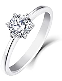 YL Diamond Wedding Ring 9ct White Gold 0.5ct Moissanite Engagement Wedding Ring for Bride Women tkfXto