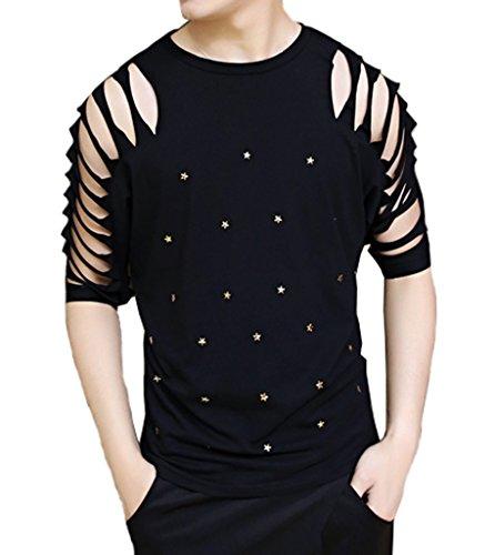 Ouye Herren Half Sleeve zerrissene L?ssiges T-Shirt Schwarz