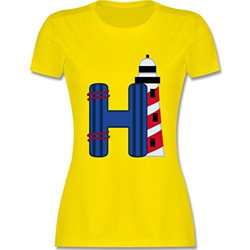 Anfangsbuchstaben - H Schifffahrt - tailliertes Premium T-Shirt mit Rundhalsausschnitt für Damen Lemon Gelb