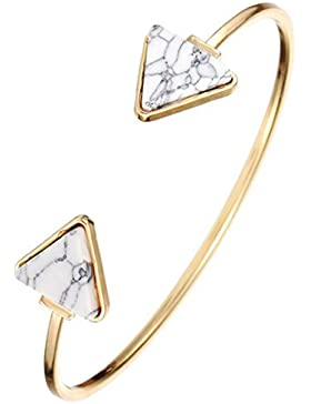 Sunnywill Retro-stilvolle offene Armreif Dreieck Marmor Türkis Stein Manschette Armband Schmuck für Frauen Mädchen...
