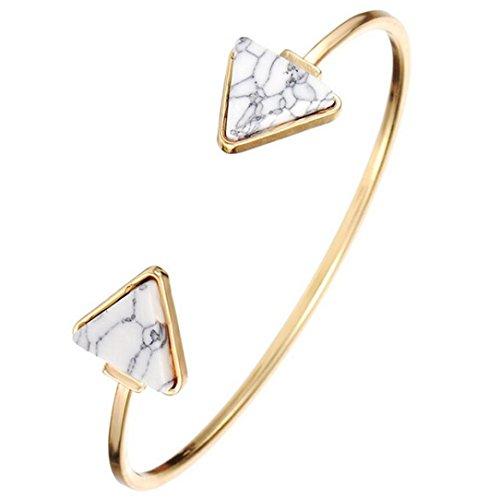 Sunnywill Retro-stilvolle offene Armreif Dreieck Marmor Türkis Stein Manschette Armband Schmuck für Frauen Mädchen Damen (Weiß) (Manschetten-armbänder, Mädchen)
