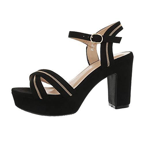 Ital-Design Damenschuhe Sandalen & Sandaletten High Heel Sandaletten Synthetik Schwarz Gr. 37