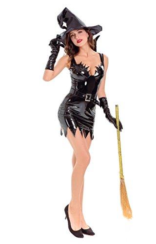 Honeystore Damen's Hexenkleid & Hut Hexenkostüm Damen Kostüm Helloween Karneval Fasching Hexe One Size Schwarz (Hollywood Hexen Kostüme)