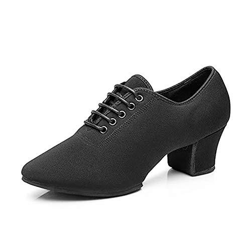 HIPPOSEUS Zapatos de Baile Latino para Mujer Negro Oxford Tela Salón Suela de Goma Zapatos de Baile Modernos,NJB701,Negro,EU 38