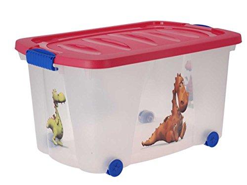 Spielzeugkiste (Multibox) mit Rollen (Drache-Pink)