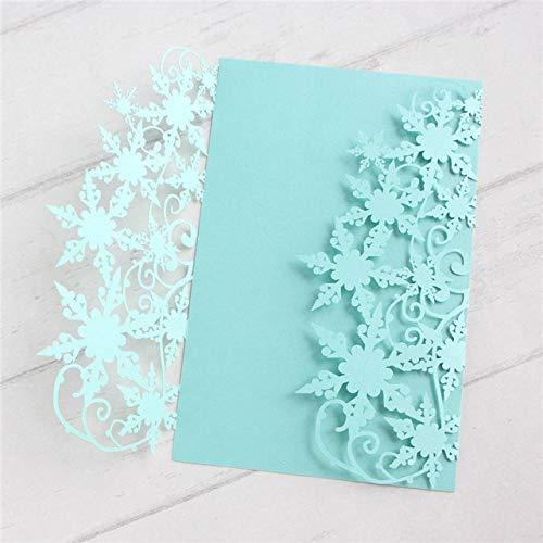 ZheQR Snowflake Wedding Invitation Marriage Quinceanera Bridal Shower Invitation Supply Customized Printing 50pcs/Lot,Tiffany Blue,blank Whole Set