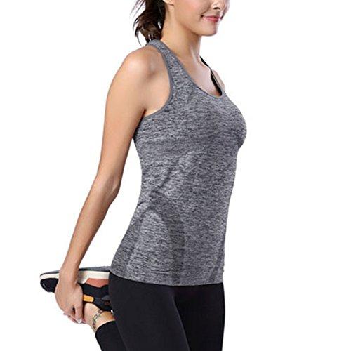 ESHOO Femmes Tight Vest Débardeur élastiques Sport Courir Fitness Jogging Tops Yoga Gilet Gris