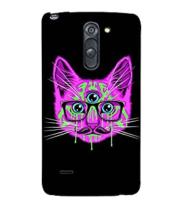 ANIMATED THREE EYED CAT WITH SPECTACLES 3D Hard Polycarbonate Designer Back Case Cover for LG G3 Stylus :: LG G3 Stylus D690N :: LG G3 Stylus D690