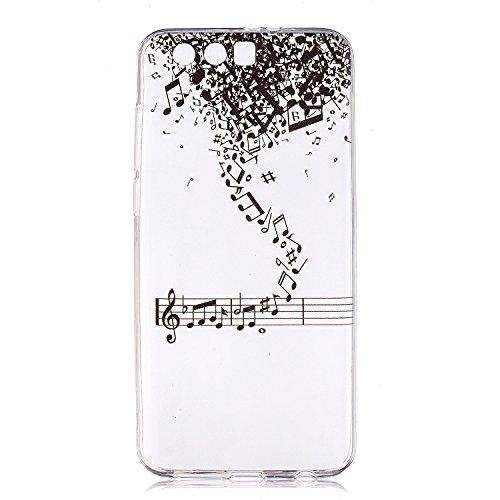 Preisvergleich Produktbild Huawei Honor 9 Hülle Case, Cozy Hut® [Liquid Crystal] Ultra Dünn [Crystal Case] Transparent Soft-Flex Handyhülle / Bumper-Style Premium-TPU Silikon / Perfekte Passform / Kratzfest Schutzhülle für Huawei Honor 9 Case, Huawei Honor 9 Cover - Musik Note