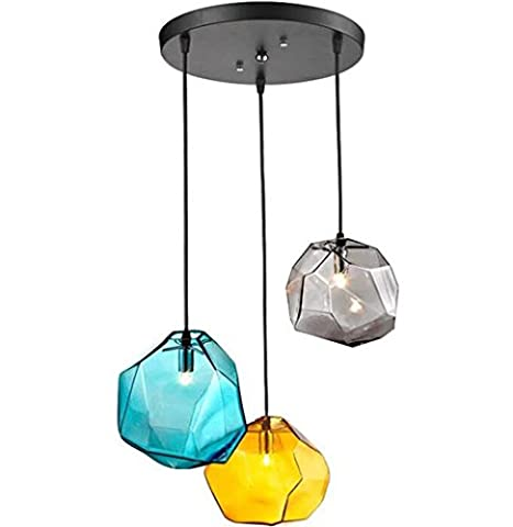 GRFH Modern Stained Glass Crystal Chandelier Light Colored Stone Living Room Bar Clothing Store Three Heads Pendant Lamp Disc base