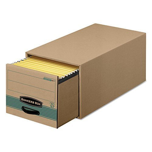 Bankers Box Super Stor/Drawer Steel Plus Storage Box, Letter, Kraft/Green, 6/Carton by Bankers Box
