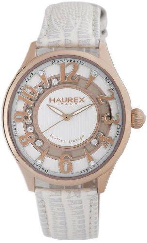 Haurex Italy Preziosa White Dial Watch #FH336DSH - Reloj de mujer de cuarzo, correa de piel color beige
