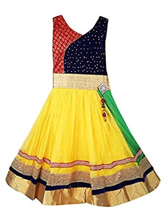 9b73510d3 Aarika Girl s Self Design Party Wear Frock  Amazon.in  Clothing ...